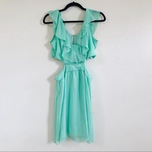 SPEECHLESS mint green ruffle cut out dress